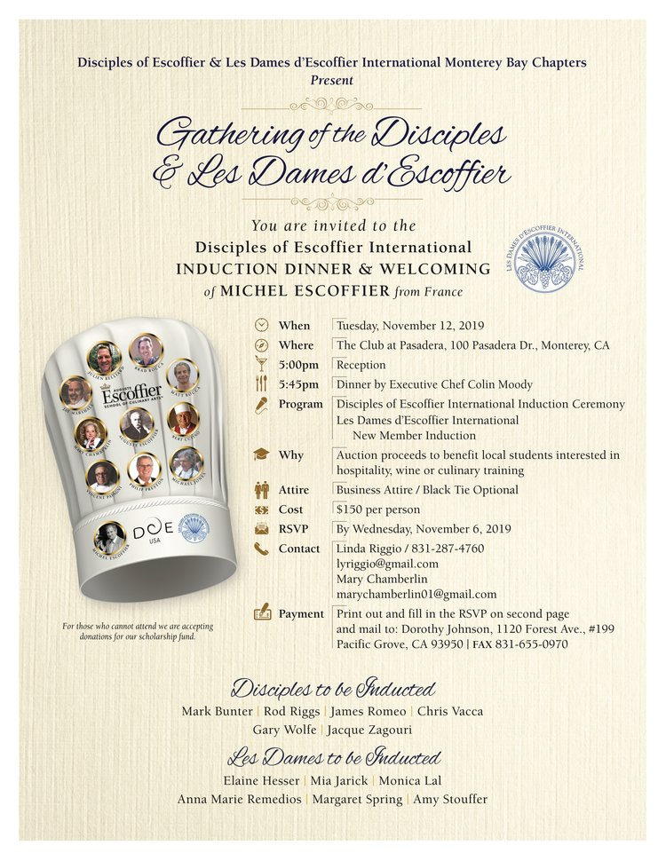 Disciples & Dames dEscoffier Invitation